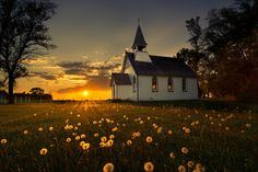"""St. Paul's Anglican Church by B Korponay, via 500px - """"I was lucky enough to catch this gorgeous sunset at this little church near Poplar Point, Manitoba this past summer - right at the peak of 'dandelion season'."""" - Can light be any more beautiful than this?  It seems to be blessing this simple scene with a brief moment of eternity.  I am deeply, deeply moved by it."""