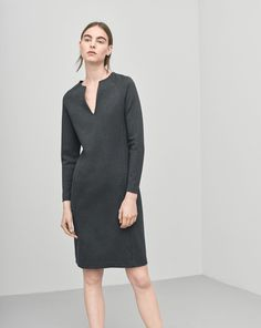 Jersey Split Dress Antracite | Grey  casual dress with long sleeves | Minimalist casual wear | Capsule wardrobe | Slow fashion | Simple style | Minimalist style | Little grey dress | Scandinavian casual wear | Stylish work outfit