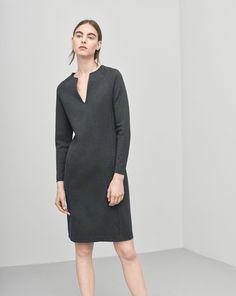 Jersey Split Dress Antracite - Dresses - Shop Woman - Filippa K