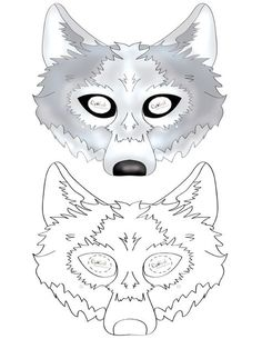 * We've created a black and white Wolf mask and colored Wolf mask, choose your preference. Then cut all around, cut holes for the eyes, and punch a sm...