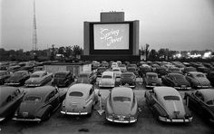 The first drive-in movie theatre opened in Camden, New Jersey, on June 6, 1933. At the height of their popularity in the 1950s and 60s there were roughly 4,000 drive-in theatres across America compared to only a few hundred today. This photo was taken in Chicago, 1951 - LIFE magazine