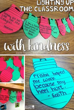 Elementary teacher looking for writing inspiration for Christmas classroom decoration ideas? This FREE template is the perfect way to celebrate kindness by having kids write acts they have seen and create a string of lights! The perfect Christmas craft fo Classroom Crafts, Classroom Fun, Classroom Activities, Holiday Classrooms, Preschool Bulletin, Christmas Decorations For Classroom, Future Classroom, Classroom Decoration Ideas, Year 3 Classroom Ideas