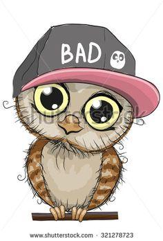 Cute cartoon owl in a cap on a white background