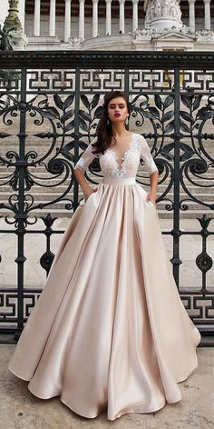24 Peach & Blush Wedding Dresses You Must See ❤ See more: http://www.weddingforward.com/peach-blush-wedding-dresses/ #wedding #peach #blush #dresses
