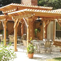 I love the stately effect of this three level pergola. It gives a feel of a pagoda inspired craftsman pergola. The huge columns even allow for electricity and ceiling fans. Multi-level wood pergola in Durham (Outdoor Wood Pergola) Pergola Kits, Building A Pergola, Patio Design, Pergola Designs, Garden In The Woods, Outdoor Living, Wooden Garden