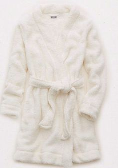 NWT Aerie by American Eagle White Teddy Robe, Soft, Ties at Waist, Size XL…