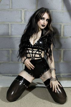 A bodysuit handmade out of latex rubber. With studs and chains in black color. Was used twice in photoshoots, great condition size small approximate measurements: bust waist hips Gothic Girls, Hot Goth Girls, Bad Girls, Gothic Corset, Gothic Lolita, Gothic Steampunk, Steampunk Clothing, Gothic Art, Victorian Gothic