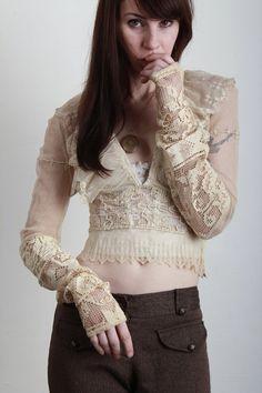 Antique Blouse - Crochet, Mesh, Lace - 1900s from VeraVague on Etsy.