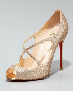 Christian Louboutin Glittered Crisscross Open-Toe Pump [CL12031061] - US$162.00 : Christian Louboutin Outlet Shoes for you!, The masterpieces of famous designer Christian Louboutin