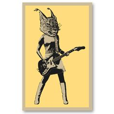 LYNX Guitar Player girl screenprint $25 by Will Ruocco #print #poster #kids #rock #bands