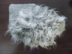 Wool Fleece Felted Rug/ Capet in Organic Shape Raw Wool by momoish