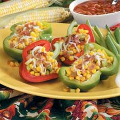 Bacon-Corn Stuffed Peppers Recipe