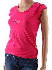 Dámske tričko Carlo Bellucci ružové  Jednoduché dámske tričko s extra krátkymi rukávmi sýtej ružovej farby. Tričko má na hrudníku ozdobu z kamienkov v tvare psíkov. Látka je kvalitná bavlna s 5% prímesou elastanu.  http://www.yolo.sk/damske-tricka-bluzky-kratky-rukav/lacne-damske-tricko-carlo-belluci-ruzove