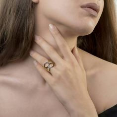 Γυαλισμένο Κύκλοι Μινιμαλιστική Δαχτυλίδι Μαύρο Κυβικά Zirconia Open