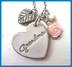 Grandma Silver Heart Necklace - Wedding nacklaces (*Amazon Partner-Link)