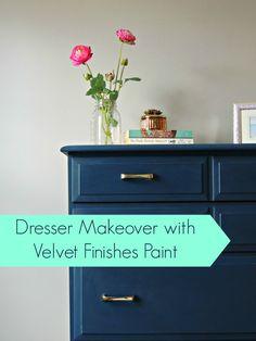 Painting an old dresser using velvet finishes paint   Wife in Progress