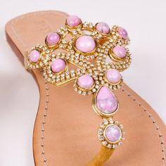 Amazon.com: Mystique Gold & Pink flat sandals: Shoes