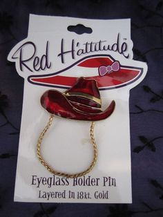 Red Hat Pin Club Eyeglass Holder Country Western Cowboy Hat Enamel Brooch  #RedHattitude