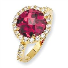 """Gold plated """"Vermeil"""" Sterling Silver Checker-cut Synthetic #Ruby & #CZ Ring $50.00"""