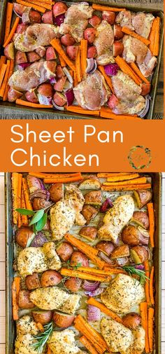 This Sheet Pan Chicken is an easy weeknight dinner solution. Pile all your ingredients onto it, toss it in the oven, and in 30 minutes, you'll have a one pan, healthy supper. #sheetpandinner #quickdinners #chickenrecipes #chickenthighs #weeknightdinners #easydinners Chicken Lunch Recipes, Mexican Chicken Recipes, Easy Dinner Recipes, Easy Meals, Easy Recipes, Healthy Meals, Slow Cooked Chicken, Kitchen Recipes, Sheet Pan