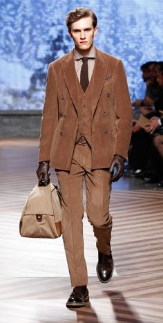 Zegna/ Corduroy Suit with peak lapels