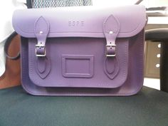 "Classic 13"" Cambridge Satchel on purple"
