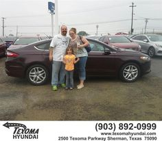 https://flic.kr/p/HqK4zT | Happy Anniversary to Kara/Jeremy on your #Ford #Fusion from Mike Burdette at Texoma Hyundai! | deliverymaxx.com/DealerReviews.aspx?DealerCode=L967