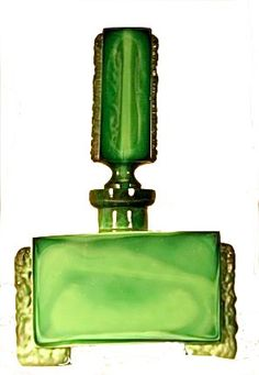 Vintage Czech Malachite Glass Perfume Bottle