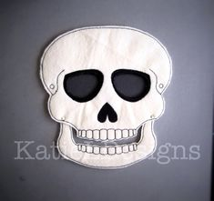 In The Hoop Skull Mask Machine Embroidery Design by KatieLDesigns. Great DIY Halloween Costume!