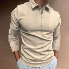 BrosWear Men's Striped Zipper Golf Casual Long Sleeve Polo Shirt Long Sleeve Polo, Polo Shirt, T Shirt, Zipper, Fashion Shirts, Casual, Sleeves, Mens Tops, Golf