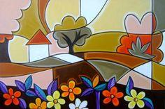 Quadro Pintura cubista 60x90 Cod 609 | KATIA ALMEIDA - PINTURAS EM TELAS | 32D857 - Elo7
