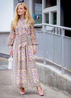Kate Foley in a boho handkerchief dress + low heels