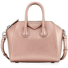 Givenchy Antigona Mini Leather Satchel Bag ($1,950) ❤ liked on Polyvore featuring bags, handbags, bolsas, handbags satchels, light pink, leather handbags, leather satchel handbags, zip top tote bag, man bag and tote handbags