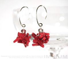 Coral cluster earrings  sterling silver tourmalinated by IMNIUM, $35.99