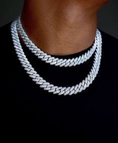 The bestselling Diamond Prong Cuban Link Choker is now available with smaller, links. Comes with 2 white gold cuban link chains of your choosing. Designed and molded this unique link that features hand-set, prong-lifted stones that shine from all angles. Cute Jewelry, Women Jewelry, Fashion Jewelry, Men's Jewelry, Unique Jewelry, Dainty Diamond Necklace, Diamond Jewelry, Accesorios Casual, Chains For Men