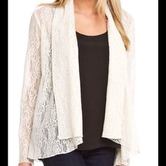 Final Sale Lace Jacket with front Lapels Perfect Jacket to throw on over jeans or a maxi dress, pretty lace material with lapels at the front Simply Irresistable Jackets & Coats