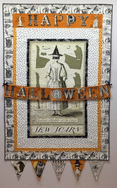 """Sew Scary panel quilt, 43"""" x 64¼"""",  spotted at Main Street Quilt Company.  Fabric design by Janet Wecker Frisch.    The pattern is free at Quilting Treasures (2015). http://www.quiltingtreasures.com/shop/product/sew-scary/"""
