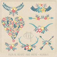 Valentine Clip Art Flower Heart, Antlers, Wreaths, Arrows and Laurels. Hand drawn set for creating cards invitations wedding scrapbooking