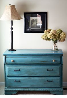 A combination of Provence and Aubusson Blue Annie Sloan Chalk Paint finished with a bit of dark wax.