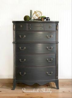 Tall Dark Gray Dresser with Gold Highlights by ShenandoahShabby on Etsy Traditional Chest Of Drawers, Grey Chest Of Drawers, Gray Dresser, White Secretary Desk, Secretary Desks, Gilding Wax, Dresser Ideas, Gold Highlights, Booth Ideas