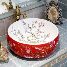 Flores e pássaros Europa Estilo Vintage Bacia Bancada Pia de Cerâmica Feitas À Mão Navio Afunda Banheiro Vaidades pias de lavagem cerâmica(China (Mainland))