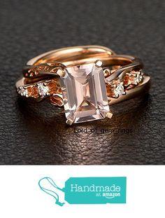 Emerald Cut Morganite Engagement Ring Diamond Wedding 14K Rose Gold 7x9mm from the Lord of Gem Rings https://www.amazon.com/dp/B01H7D3JJQ/ref=hnd_sw_r_pi_dp_yNezxbQEM8QRN #handmadeatamazon