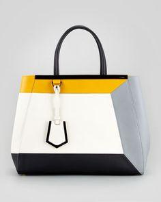 2Jours Colorblock Calfskin Medium Tote Bag by Fendi at Neiman Marcus.