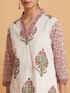 Buy White Hand Block Printed Cotton Kurta online at Theloom Neck Designs For Suits, Dress Neck Designs, Blouse Designs, Block Printing Designs, Kurtha Designs, Kalamkari Dresses, Kurta Patterns, Kurta Style, Kurti Embroidery Design