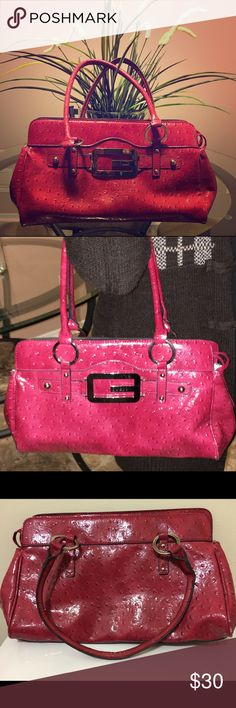 Guess Rose Red Purse Rose pink purse • condition ok • slightly worn edges and few makeup stains inside that's shown in the pictures Guess Bags Shoulder Bags