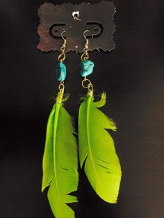aaseagypsy jewels; green and turquoise feather earrings;