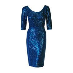 1950's Gene Shelly Royal-Blue Sequin Hourglass Knit Belted Wiggle Cocktail Dress | From a collection of rare vintage evening dresses at https://www.1stdibs.com/fashion/clothing/evening-dresses/