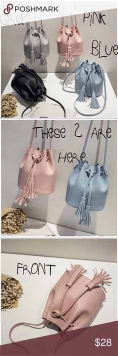 Cute SHoulder Messenger Bucket Tassel Bags Cute SHoulder Messenger Bucket Tassel Bags.   Blue & Pink Available with Grey on it's way.  19 cm Height x 14 cm Wide x 18 cm Length Lining MaterialPolyester Handbags TypePU Leather Shoulder Bags ShapeBucket Closure TypeString DecorationTassel Bags Shoulder Bags