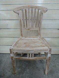Balinese Furniture Teak Wood Large Outdoor Garden Chair White Wash