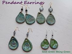 Pendant Earrings made with pottery using slab rolling and making prints, beads and jewelry supplies used too